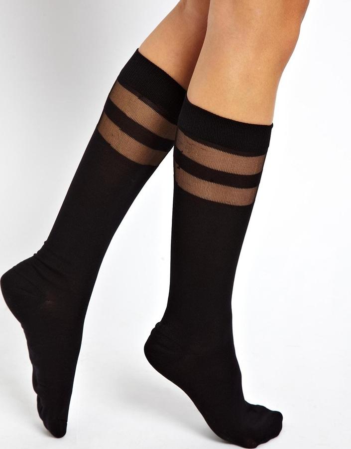 Asos Knee High Double Stripe Socks