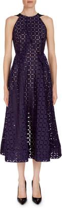 Roland Mouret Geometric Open-Back Midi Dress