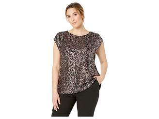 eefb559fa5c Vince Camuto Specialty Size Plus Size Extend Shoulder Multi-Sequin Mesh Mix  Media Blouse