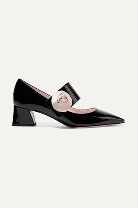 Roger Vivier Rose Button Satin-trimmed Patent-leather Mary Jane Pumps - Black