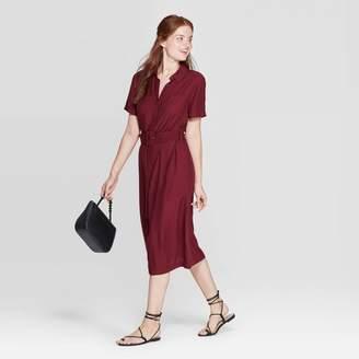 A New Day Women's Short Sleeve Collared Midi Shirtdress Burgundy