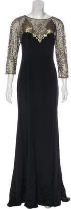 Marchesa Long Sleeve Silk Evening Dress w/ Tags