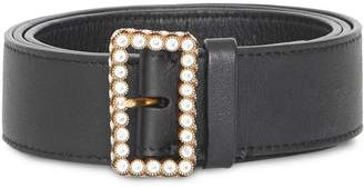 Burberry Leather Belt with Crystal Buckle
