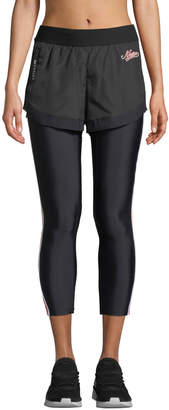 P.E Nation Long Lift Two-in-One Performance Leggings with Shorts Overlay