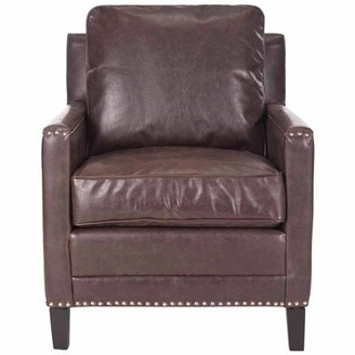 Safavieh Buckler Bicast Leather Club Chair, Antique Brown with Silver Nail Heads
