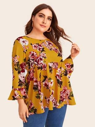 Shein Plus Flounce Sleeve Floral Print Smock Dress
