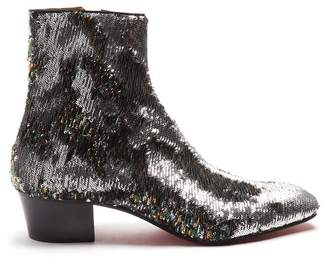 Christian Louboutin Huston Sequin Embellished Ankle Boots - Mens - Silver Multi