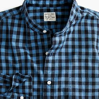 J.Crew Tall stretch Secret Wash band-collar shirt in brown gingham