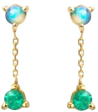 WWAKE Small Two-Step Opal And Emerald Chain Stud Earrings