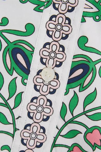 Tory Burch - Port Printed Cotton-blend Mini Dress - Green 3