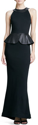 Alice + Olivia Karen Leather-Peplum Ponte Gown