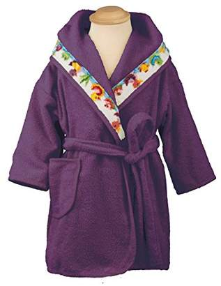 Feiler entchxm1280514 Bathrobe with Ducklings Design Size 128 Berry-Coloured
