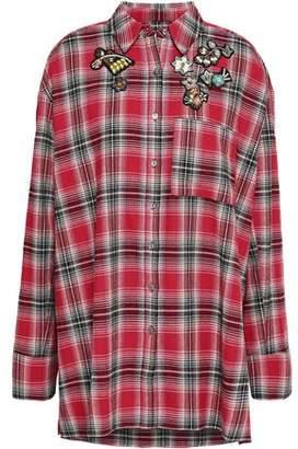 Cinq à Sept Appliquéd Checked Cotton-Flannel Tunic