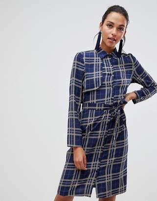 Liquorish midi shirt dress with tie waist in check print