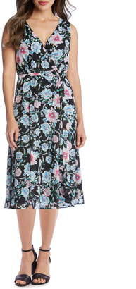 Karen Kane Floral Faux Wrap Sleeveless Midi Dress