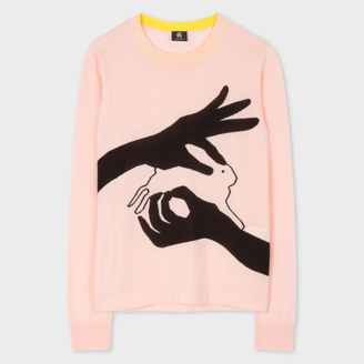 Women's Pink Merino Wool Sweater With 'Shadow Bunny' Intarsia $290 thestylecure.com