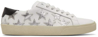 Saint Laurent White and Silver Court Classic California Sneakers
