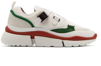 Chloé Sonnie Raised Sole Low Top Trainers - Womens - Green White