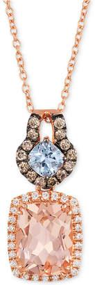 "LeVian Le Vian Aquamarine (1/4 c.t. t.w.), Peach Morganite (1-1/2 ct. t.w.) and Diamond (1/4 ct. t.w.) 18"" Necklace in 14k Rose Gold"