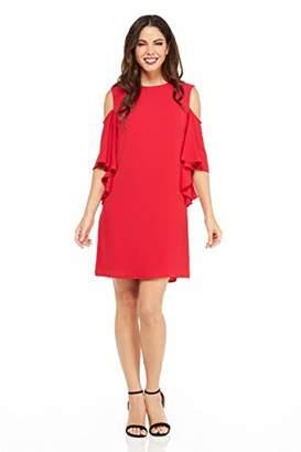 London Times Women's Cold Shoulder Round Neck Crepe Shift Dress