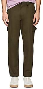 Ovadia & Sons Men's Embroidered Cotton Cargo Pants-Olive