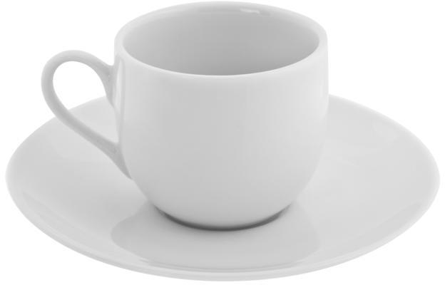 10 Strawberry Street Classic White Ballet 3 oz. Demi Cup and Saucer - Set of 6
