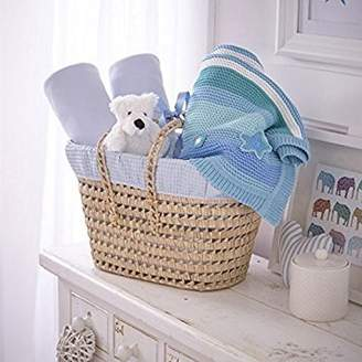 Clair De Lune Waffle Luxury Gift Basket to fit Cot Bed, Blue