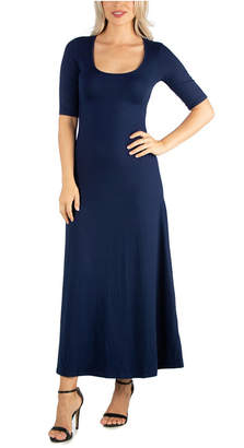 24seven Comfort Apparel Women Casual Maxi Dress with Sleeves