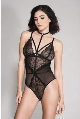 689fb572bc6 Musiclegs High strap neck lace and sheer teddy with adjustable spaghetti  straps 80043-BLACK