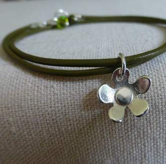58d66f2e48b Anne Reeves Jewellery Leather And Silver Flower Charm Bracelet