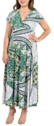 24/7 Comfort Apparel 24Seven Comfort Apparel Lena Short Sleeve Green Print Empire Waist Plus Size Maxi Dress