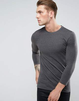 Asos Design Muscle Fit T-Shirt With 3/4 Length Sleeves In Grey