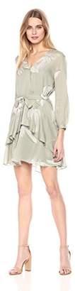 Halston Women's Long Sleeve V Neck Printed Flounce Dress