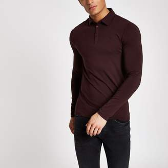 River Island Mens Dark Red muscle fit long sleeve polo shirt