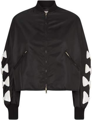 Valentino Bow Sleeve Cropped Bomber Jacket