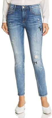 Aqua Embellished Distressed Skinny Jeans in Medium Wash - 100% Exclusive