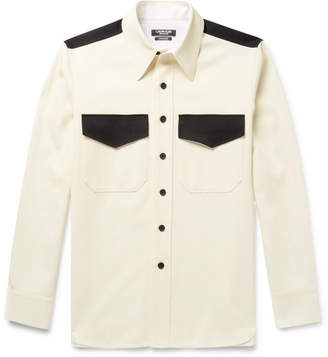 Calvin Klein Contrast-Trimmed Wool-Twill Shirt