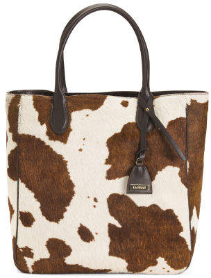 Made In Italy Haircalf Cow Print Tote