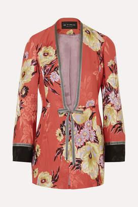 Etro Floral-print Satin-jacquard Jacket - Coral