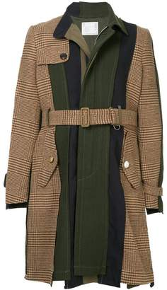 Sacai contrast panel belted coat