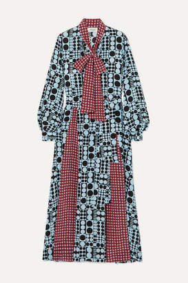 Arias ARIAS - Pussy-bow Belted Printed Silk Maxi Dress - Blue