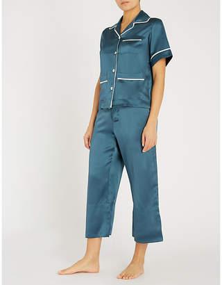 Olivia Von Halle Daria contrast-piped silk-satin pyjama set