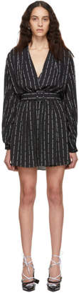 Off-White Black Pinstripe 80s Dress