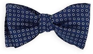 Barneys New York Men's Polka Dot Silk Twill Bow Tie - Navy