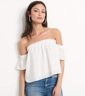 Dynamite Off-The-Shoulder Crop Top SNOW WHITE