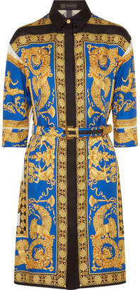 Versace Printed Silk-twill Shirt Dress - Gold