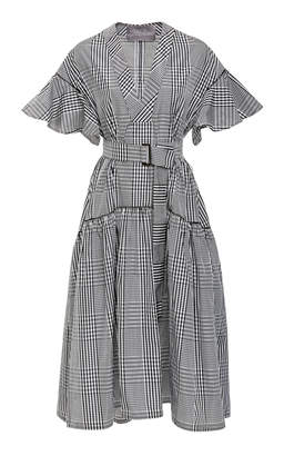 Lela Rose Belted Gingham Poplin Midi Dress