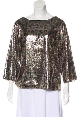 MICHAEL Michael Kors Sequined Long Sleeve Top