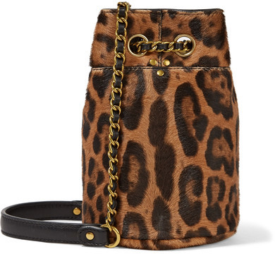 Jérôme Dreyfuss Popeye Mini Leopard-print Calf-hair Bucket Bag