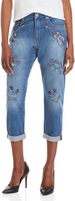 Love Moschino Embroidered Cuffed Jeans